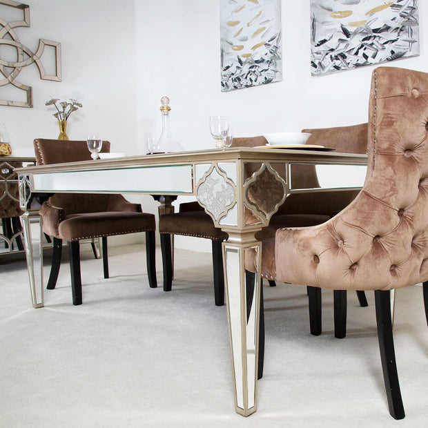 Morocco Mirrored Dining Table + 4 Champagne Chairs