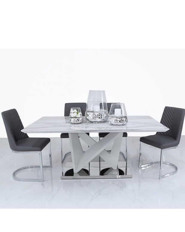 Marble Styled Geometric Table + Chairs