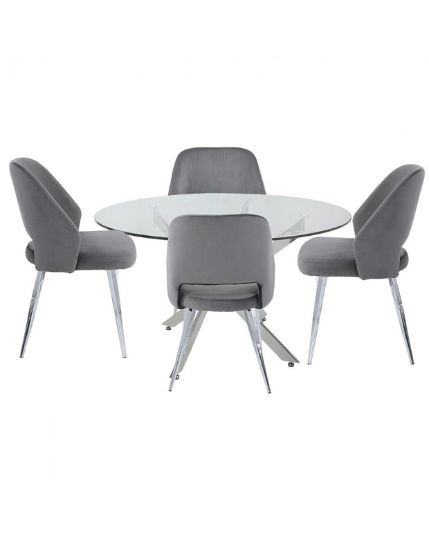 Round Glass Dining Table + 4 Chairs - Grey