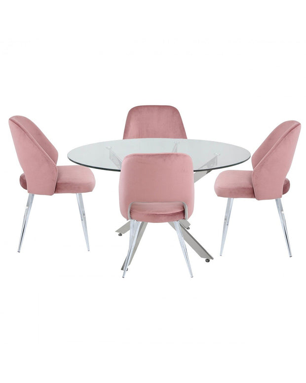 Round Glass Dining Table + 4 Chairs - Pink