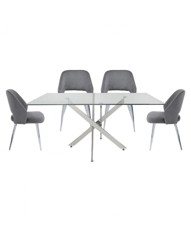 Rectangle Glass Dining Table + 4 Chairs - Grey