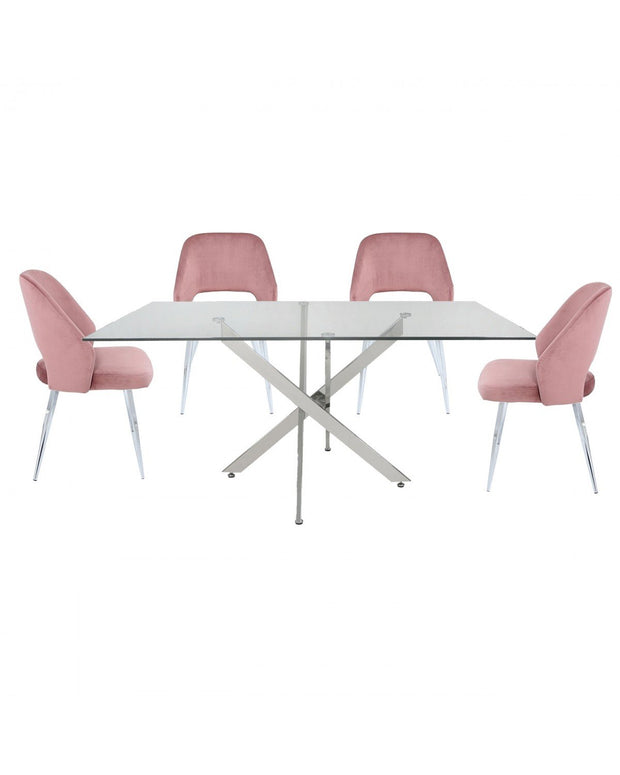 Rectangle Glass Dining Table + 4 Chairs - Pink