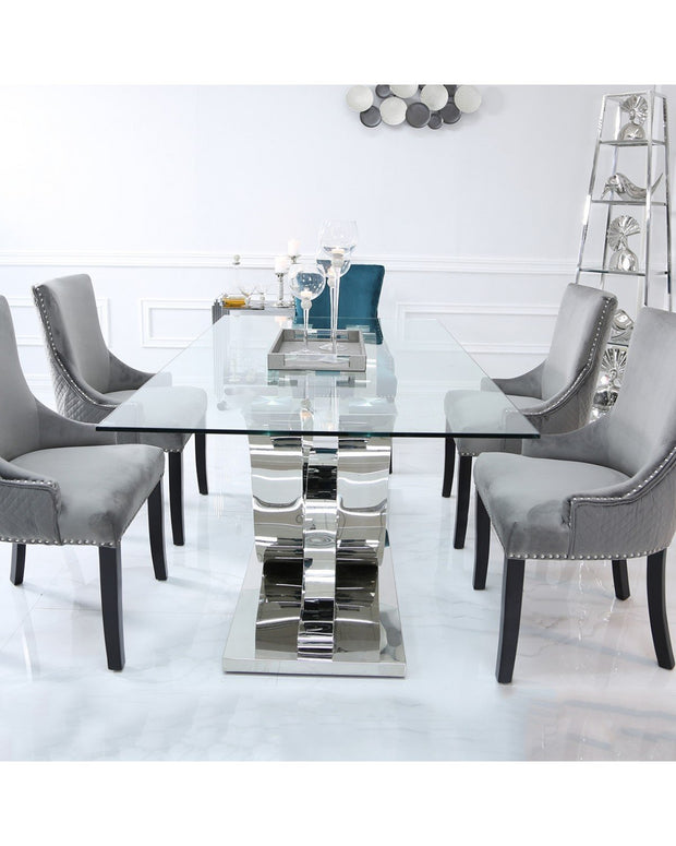 Cordon Dining Table & 6 Chairs - Grey