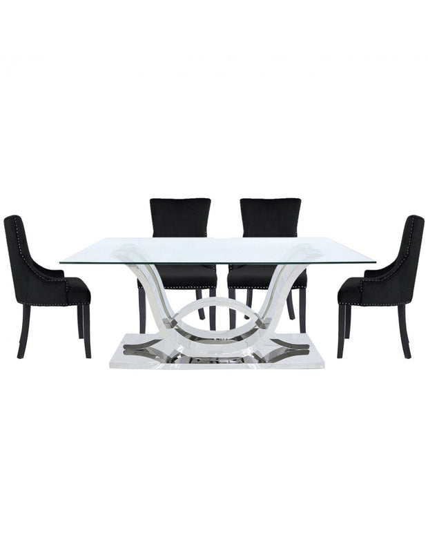 Cordon Dining Table & 6 Chairs - Black