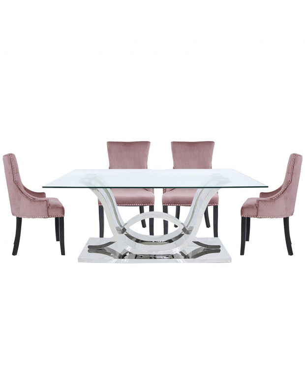 Cordon Dining table & 6 Chairs - Pink