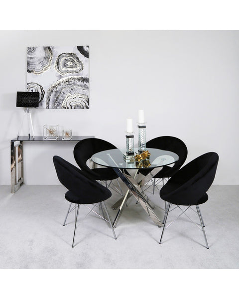 Round Glass Dining Table with 4 Chairs - Black