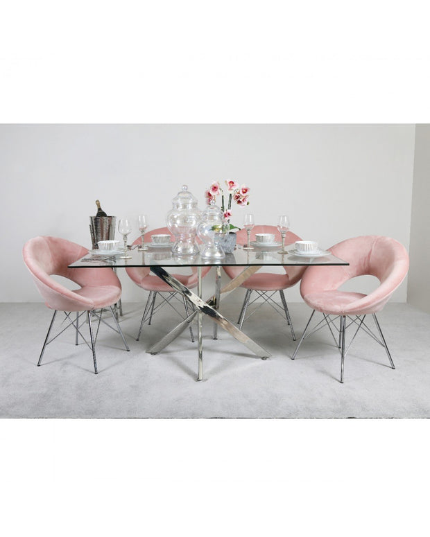 Chrome Cross Base Dining Table + 4 Chairs - Pink