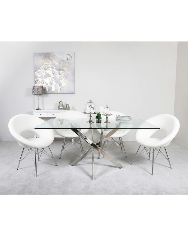 Chrome Cross Base Dining Table + 4 Chairs - White