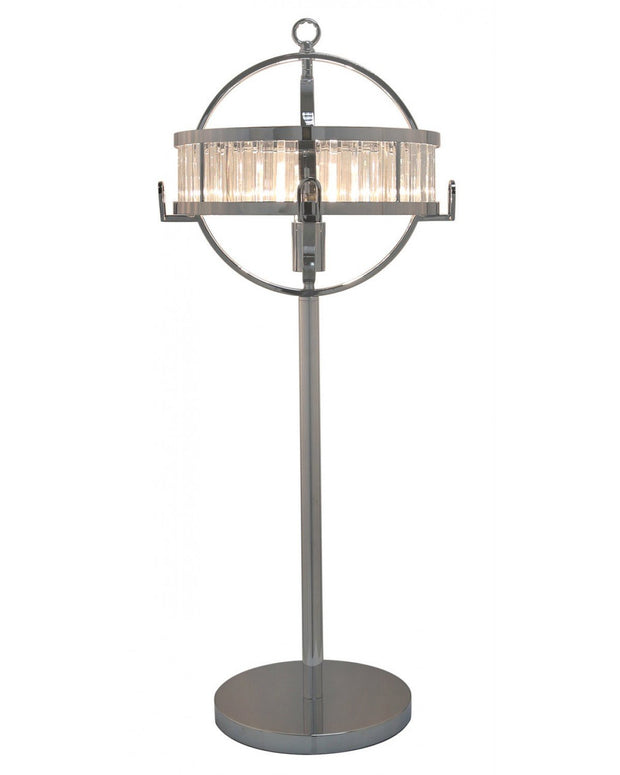 Chrome & crystal Hollywood Table Lamp with clear and chrome Drum Shade -Medium