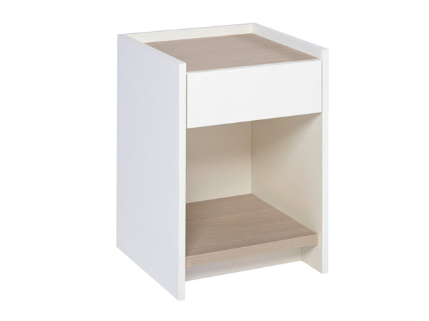 Bedside Cabinet with White, Oak or Walnut Feature