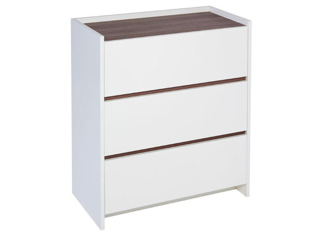 Three Drawer  Cabinet with White, Oak or Walnut Feature