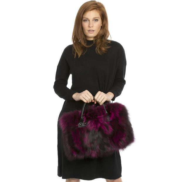 Luxury Fox Fur Tote Bag - Red/Pink