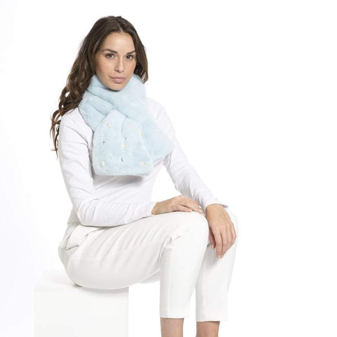 JayLey Faux Fur Scarf - with Pearl & Diamante Detail
