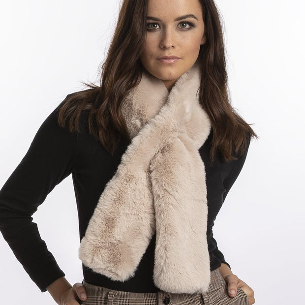 JayLey Faux Fur Scarf - Flat - Navy, Orange, Chocolate, Mocha, Grey