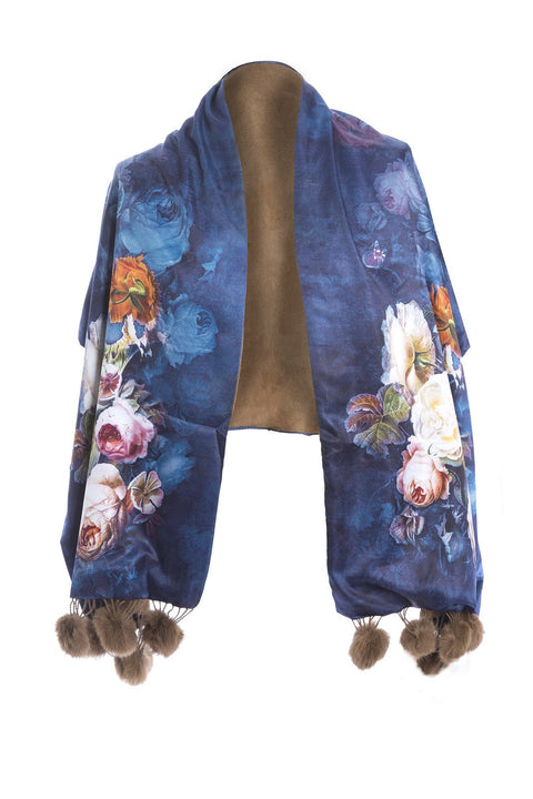 JayLey  Silk and Cashmere Wrap with Pom Poms