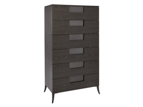 Charcoal Veneer Six Drawer Chest