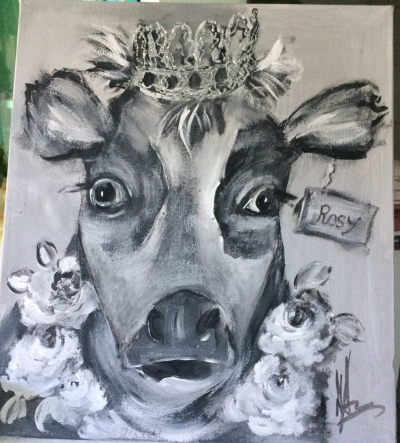 Cow with Crown - Original Canvas Artwork