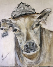 Rosy Cow with Crown - Original Canvas Artwork