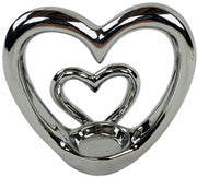 Silver Double Heart Tealight Holder