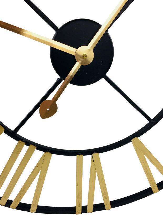 Gold & Black Roman Numeral Clock 60cm