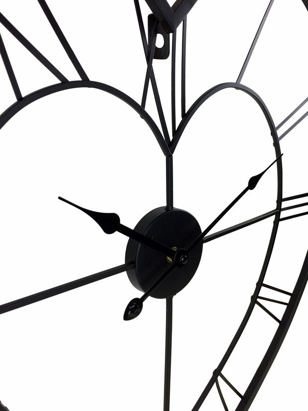 Black Metal Skeleton Love Heart Clock 58cm