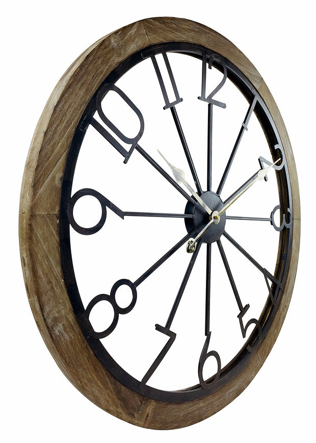 Wooden Trim & Metal Numbers Clock 68cm