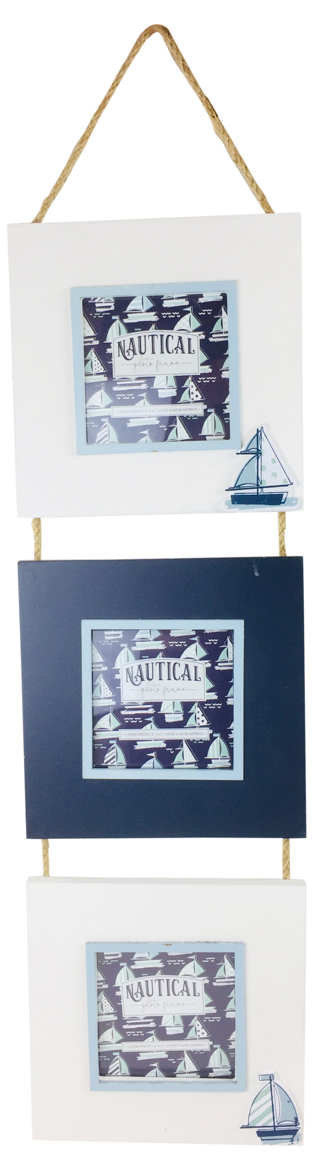 Triple Hang Photo Frame Boat 44cm