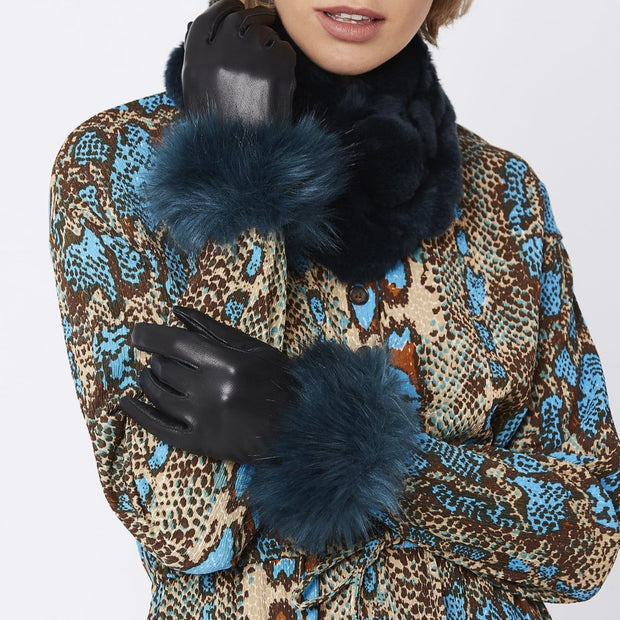 JayLey Leather Glove with Faux Fur - Teal