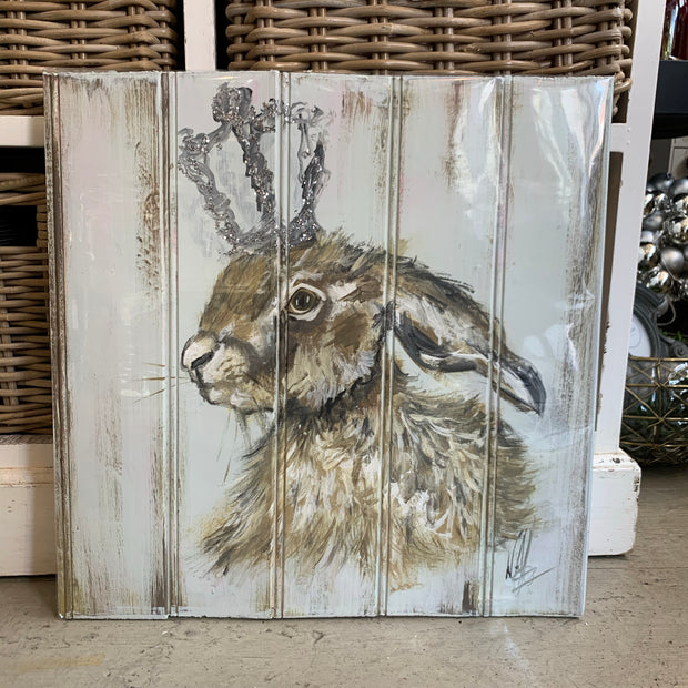 Hare Painted on Vintage Timber Board - Original Artwork