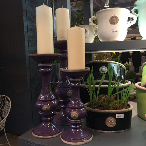Kew Gardens Pillar Candle Holder - Aubergine - Allissias Attic  &  Vintage French Style - 1