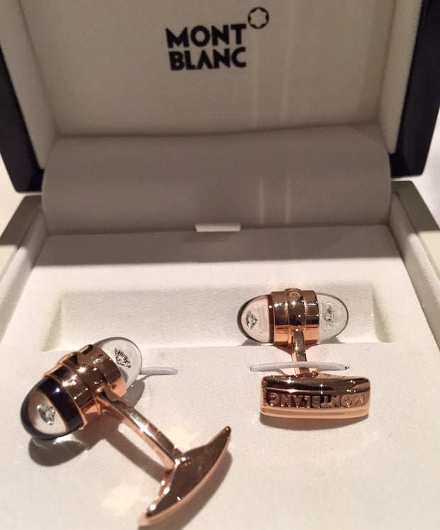 MontBlanc Rose Gold Diamond Suspended Cufflinks 18k - Allissias Attic  &  Vintage French Style - 6