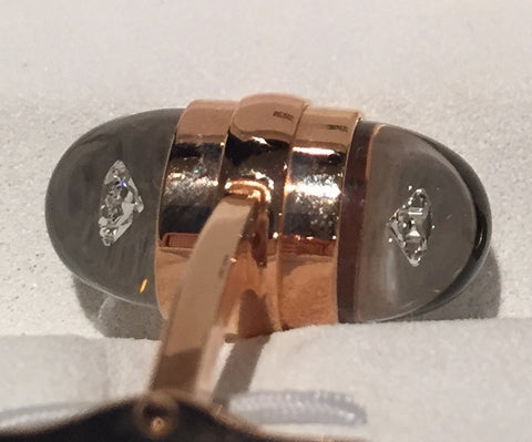 MontBlanc Rose Gold Diamond Suspended Cufflinks 18k - Allissias Attic  &  Vintage French Style - 10