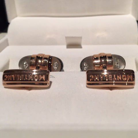 MontBlanc Rose Gold Diamond Suspended Cufflinks 18k - Allissias Attic  &  Vintage French Style - 8