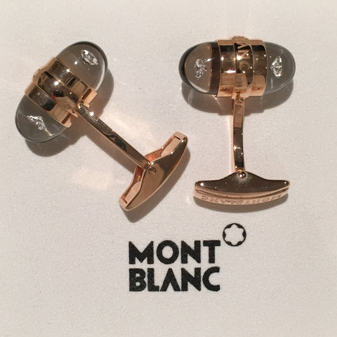 MontBlanc Rose Gold Diamond Suspended Cufflinks 18k - Allissias Attic  &  Vintage French Style - 2