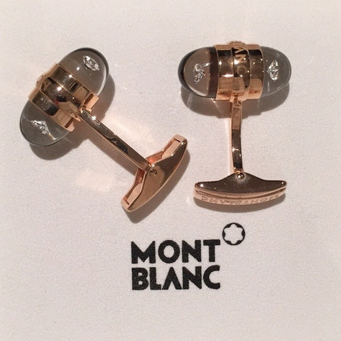 MontBlanc Rose Gold Diamond Suspended Cufflinks 18k - Allissias Attic  &  Vintage French Style - 9