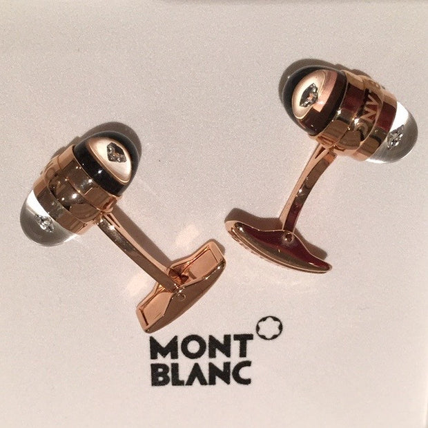 MontBlanc Rose Gold Diamond Suspended Cufflinks 18k - Allissias Attic  &  Vintage French Style - 11
