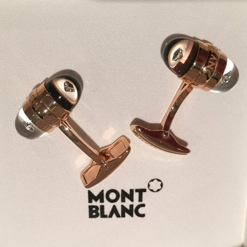 MontBlanc Rose Gold Diamond Suspended Cufflinks 18k - Allissias Attic  &  Vintage French Style - 5