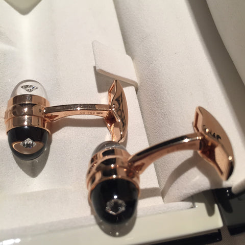 MontBlanc Rose Gold Diamond Suspended Cufflinks 18k - Allissias Attic  &  Vintage French Style - 3