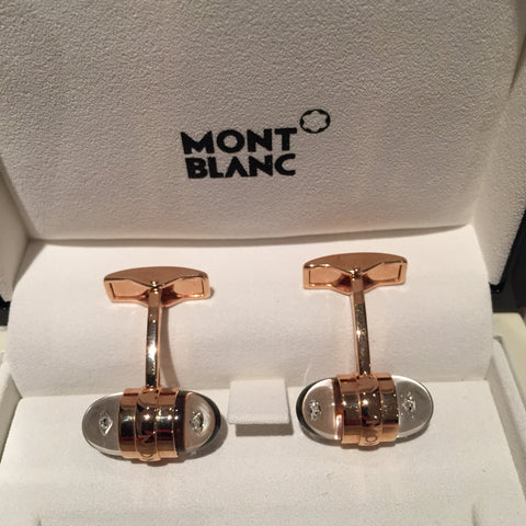 MontBlanc Rose Gold Diamond Suspended Cufflinks 18k - Allissias Attic  &  Vintage French Style - 4
