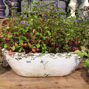 Large Distressed Oval Planter - Allissias Attic  &  Vintage French Style - 1