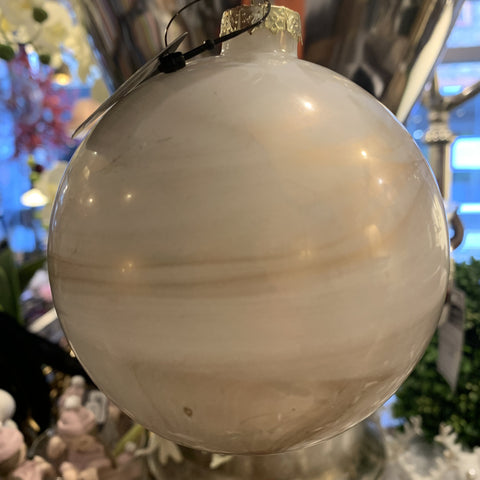 Marbled Glass Bauble - Blush/Gold