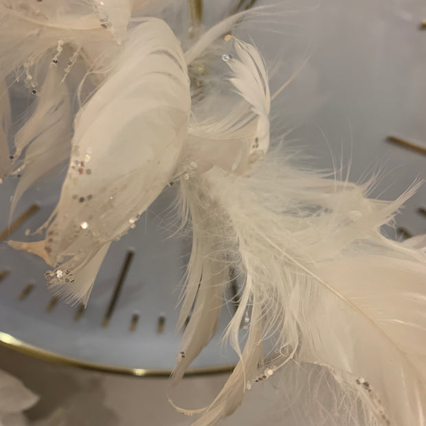 White Feather Garland with Sparkle