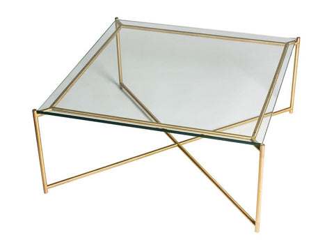 Clear Glass Square Coffee Table with Brass Criss Cross Frame