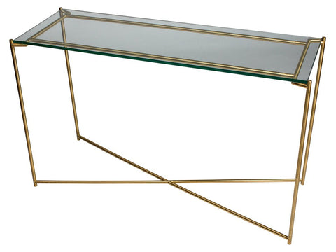 Clear Glass Console Table with Criss Cross Brass Frame
