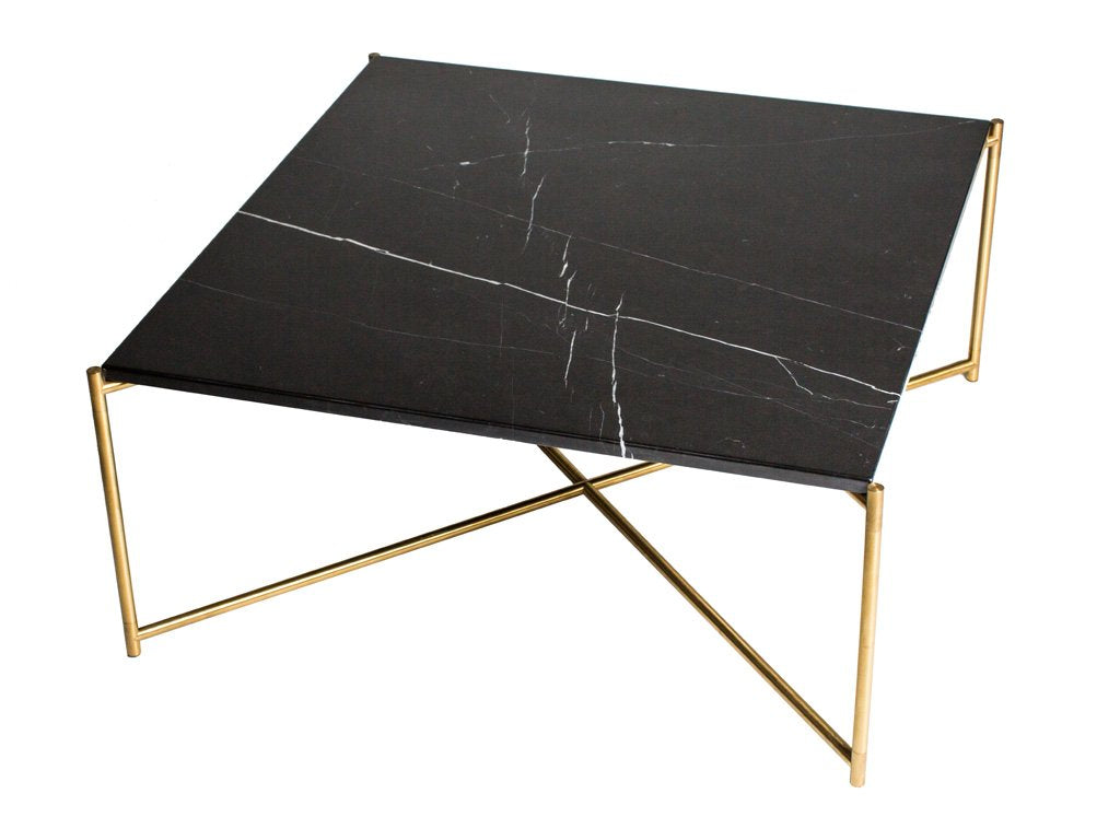 Black Marble Square Coffee Table with Brass Frame