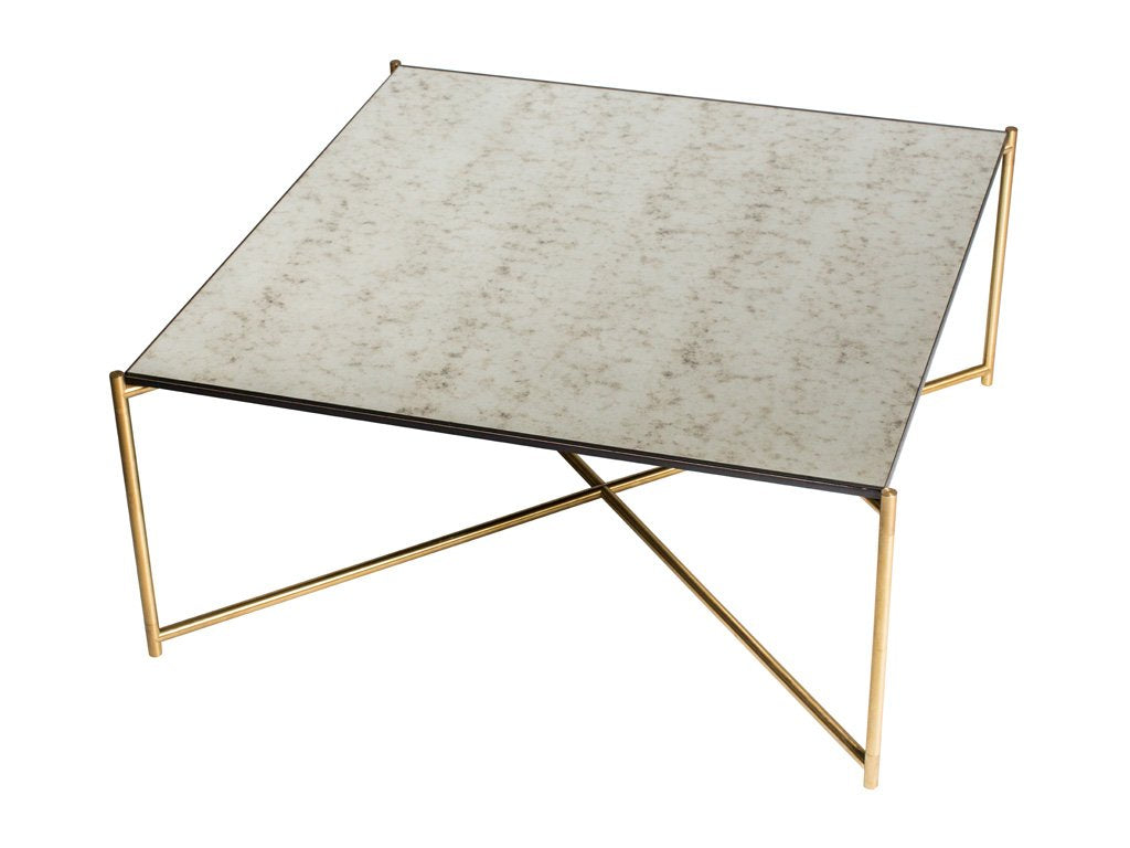 Antique Glass Square Coffee Table with Criss Cross Brass Frame