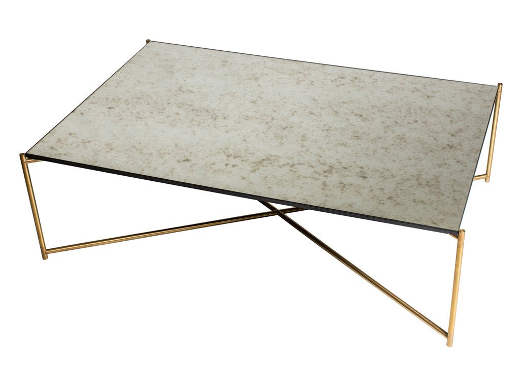 Antique Glass Rectangle Coffee Table With Criss Cross Brass Frame