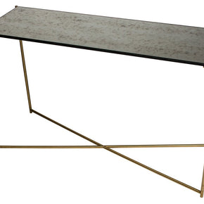 Antique Glass Console Table with Criss Cross Brass Frame