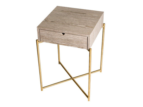 Single Drawer Side Table in Weathered Oak with Brass Legs
