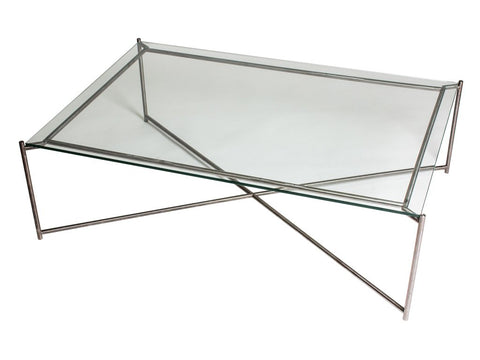 Rectangle Coffee Table with Clear Glass Top